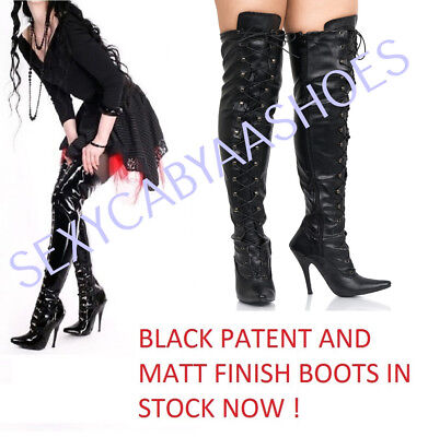 Ladies Sexy Over The Knee High Heel Fetish Lace Up Thigh High Kinky Boots Size