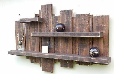 LARGE RUSTIC WALL FLOATING SHELF SOLID WOOD DISPLAY UNIT SHELVES  STORAGE HOME .