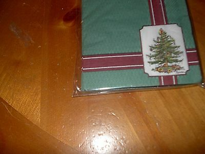 SPODE CHRISTMAS TREE PAPER BEVERAGE NAPKINS-GREEN W/RED BORDER-NEW-16