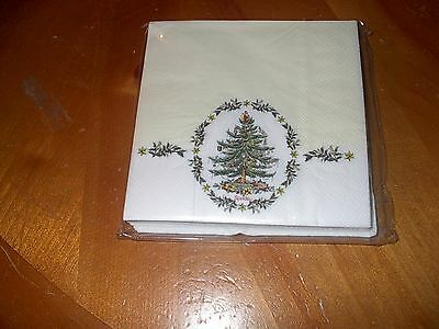 SPODE CHRISTMAS TREE PAPER BEVERAGE NAPKINS-LIGHT CREAM WITH TREE/HOLLY BORDER