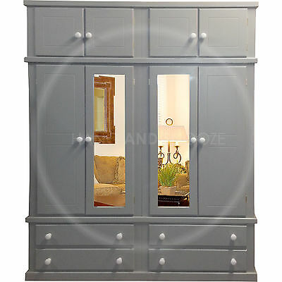 Hand Made Dewsbury Furniture 4 Door Wardrobe With Topbox Grey(Assembled)