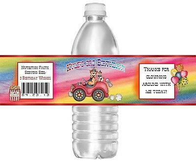 CIRCUS CLOWN CARNIVAL BIRTHDAY WATER BOTTLE LABELS PARTY FAVORS SUPPLIES CUSTOM