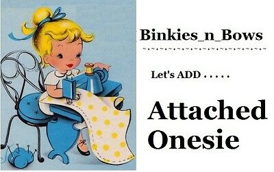 Adult Baby Sissy Little Extra's ~ Add Attached ONESIE  to Binkies_n_Bows Dress