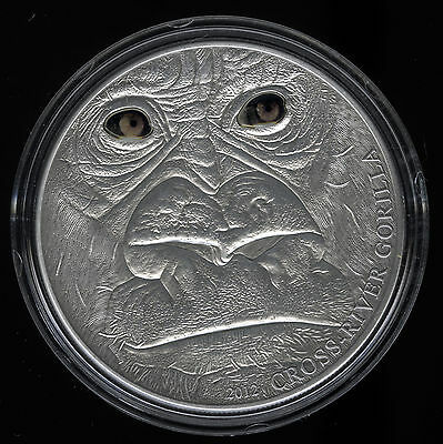 Cameroon Cross River Gorilla (Adult) Silver Coin Real Eye Effect COA Boxed