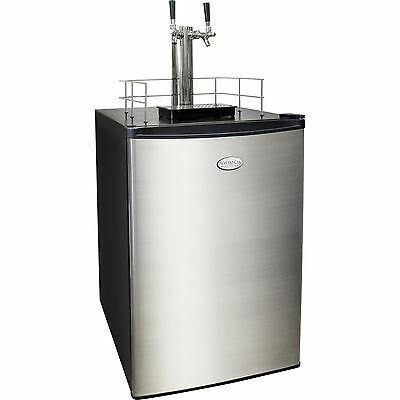 Stainless Steel Twin-Tap Beer Kegerator, 6.0 Cu. Ft.  Home Brew Keg Refrigerator