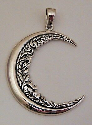 CRESCENT MOON Flower .925 Sterling Silver Pendant Wiccan Pagan Magick Moon