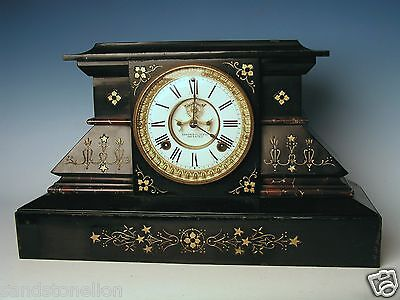 Antique 19C.'MEDAL AWARDED' Ansonia Iron Mantle Clock PARIS FRANCE EXPO 1878