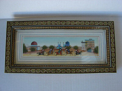 Persian Folk Art Polo Scene Painting, Signed  Khatam Inlaid Frame