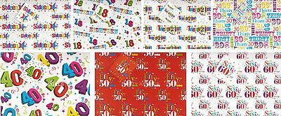 2 SHEETS BIRTHDAY WRAPPING PAPER + 1 TAG  AGES 16 18 21 30 40 50 60   (bgc)