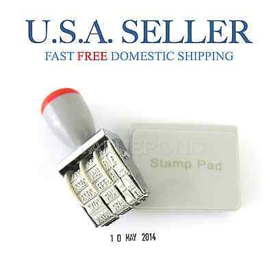 DATE STAMP for Office Business School Rubber Manual Set Dater + Black Ink Pad