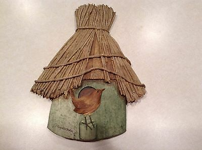 Marjolein Bastin thatched roof birdhouse plaque/wall hanging