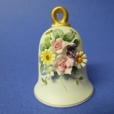 Bell, Bisque, Made in Japan, Applied Flowers