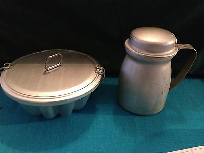 VINTAGE ALUMINUM COVERED JELLO MOLD AND STRAINER POT MID CENTURY