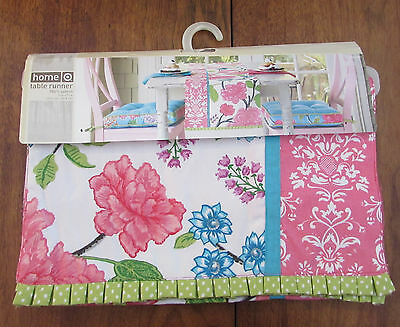 Target Home Floral 100% Cotton Runner Flower Pink Blue Green White 14x72  NEW