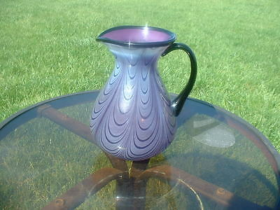 FENTON AUBERGINE OPALESCENT DRAPPERY PITCHER BY DAVE FETTY