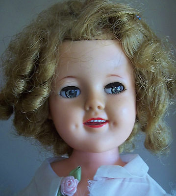 """17 """" VINTAGE vinyl SHIRLEY TEMPLE IDEAL doll flawed"""