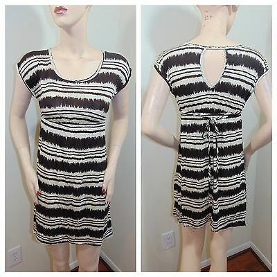 Brown Hot Striped Tie Back Summer Party Casual Cute Mini Dress w/pockets NEW S M