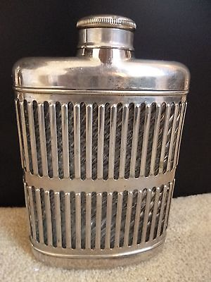 Vintage Silver Tone Metal Covered Glass Whiskey Flask - Universal Glass Co. 1927