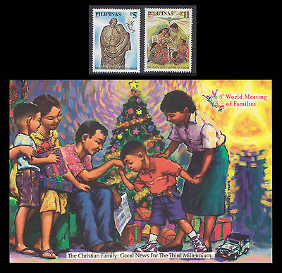 Philippines Stamps 2002 MNH 4th World Meeting of Families set + Postal Card II