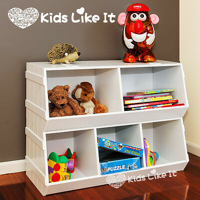 NEW 2 PCS SET Stackable WHITE WOODEN KIDS Children's TOY STORAGE UNIT SHELF BOX
