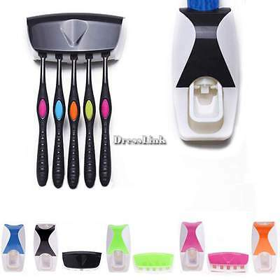 DL0 Automatic Auto Toothpaste Dispenser + 5 Toothbrush Holder Set Wall Mount