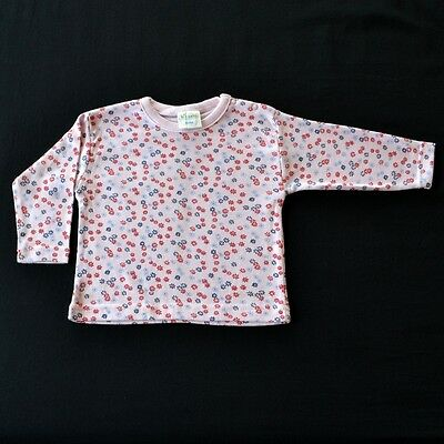 100% CERTFIED ORGANIC COTTON BABY GIRL TOP / T-SHIRT LONG SLEEVE PINK s 00 / 0