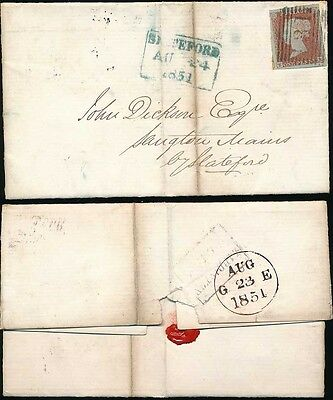 PENNY RED IMPERF SCOTLAND 1851 SLATEFORD in BLUE GREEN...EF