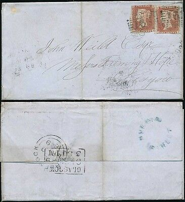 PENNY RED IMPERFS SCOTLAND 1849 RUE END STREET GREENOCK in BLUE...2d RATE