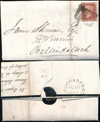 SCOTLAND 1861 PENNY RED on MOURNING LETTERSHEET FOCHABERS to BALLINDALLOCH