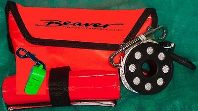 Beaver SCUBA diving reel & dSMB set very compact & fits with line into SMB pouch