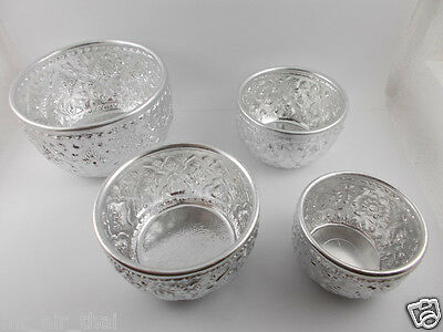 RARE VINTAGE ASIAN BOWL ALUMINUM THAI WATER DIPPER GIFT SILVER 4 PC  COLLECTION