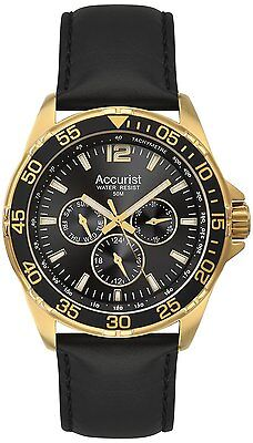 Accurist Men's Chronograph Black Leather Strap, Gold Watch MS1040B - RRP £150.00