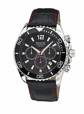 Accurist Men's Chronograph Black Dial & Leather Strap Watch MS946BB  RRP £175.00