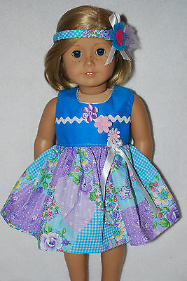 """Doll Clothes fit 18""""American Girl Dolls Handmade in the USA.patchwork dress hat"""
