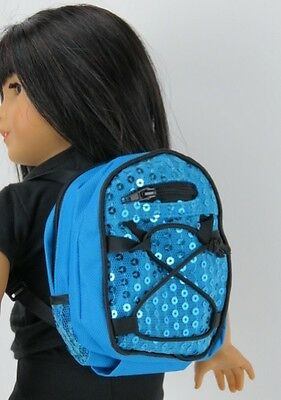 "Blue Backpack with Sequins Fits 18"" American Girl Doll Clothes Accessories"