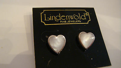 Lindenwold Mother of Pearl Heart Earring Vintage New in pkg silverplated