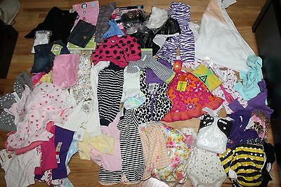 LOT OF 55  ITEMS BABY GIRLS CLOTHING SIZE NEWBORN TO 6 MONTHS NAME BRANDS