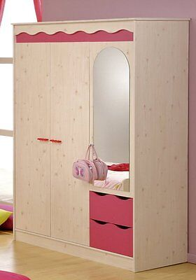 kleiderschrank schrank dreht renschrank 3 trg kinderzimmer kiefer wei pink neu eur 299 00. Black Bedroom Furniture Sets. Home Design Ideas