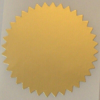 Dull Gold Foil Notary & Certificate Seals, 2 Inch Burst, Roll of 100 Seals