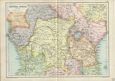 Antique Cassell's Atlas Map of Central Africa 1910 by Bartholomew