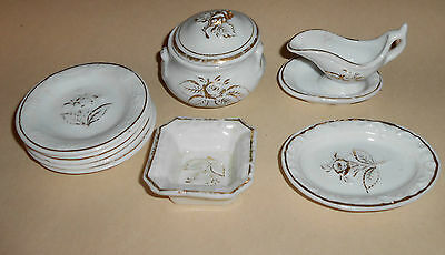 LATE VICTORIAN DOLL-PLAY PORCLAIN FLORAL DESIGN DISHES CA 1890-1900 10 PC