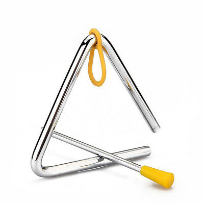 "6"" Musical Triangle & Beater Percussion Metal Instrument Music School Toy New"