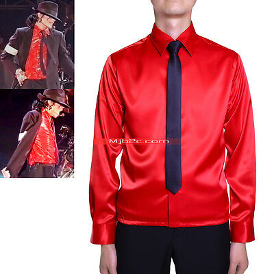 Michael Jackson Costme Dangerous High-waist Shirt Red-Free Tie