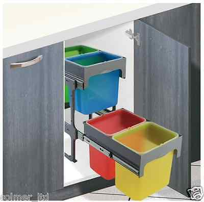 Kitchen Cabinet  Unit Pull-out Recycling Waste Bin 64L