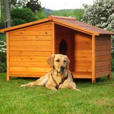 Wooden Dog Kennel Large Winter Warm House Weather Proof Shelter Outdoor Patio