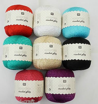 Rico Essentials Crochet Glitz Knitting Yarn 50G Cotton Mercerized Pearl Glitter