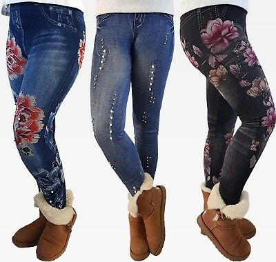 Lara2  Thermo Leggings 158 164 176 Mädchen Kinder Leggins Jeans Optik Print