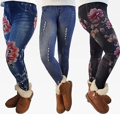Lara2  Thermo Leggings Gr.158-164-176 Mädchen Kinder Leggins Jeans Optik Print