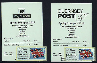 A004 & GG01 FLAGS BOTH undated STAMPEX SPRING 2015 Post Go 2x 1st CLASS SINGLES