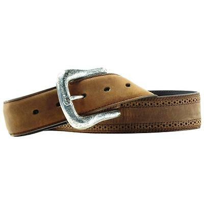 Ariat Western Mens Belt Leather Work Perforated Brown A10004667